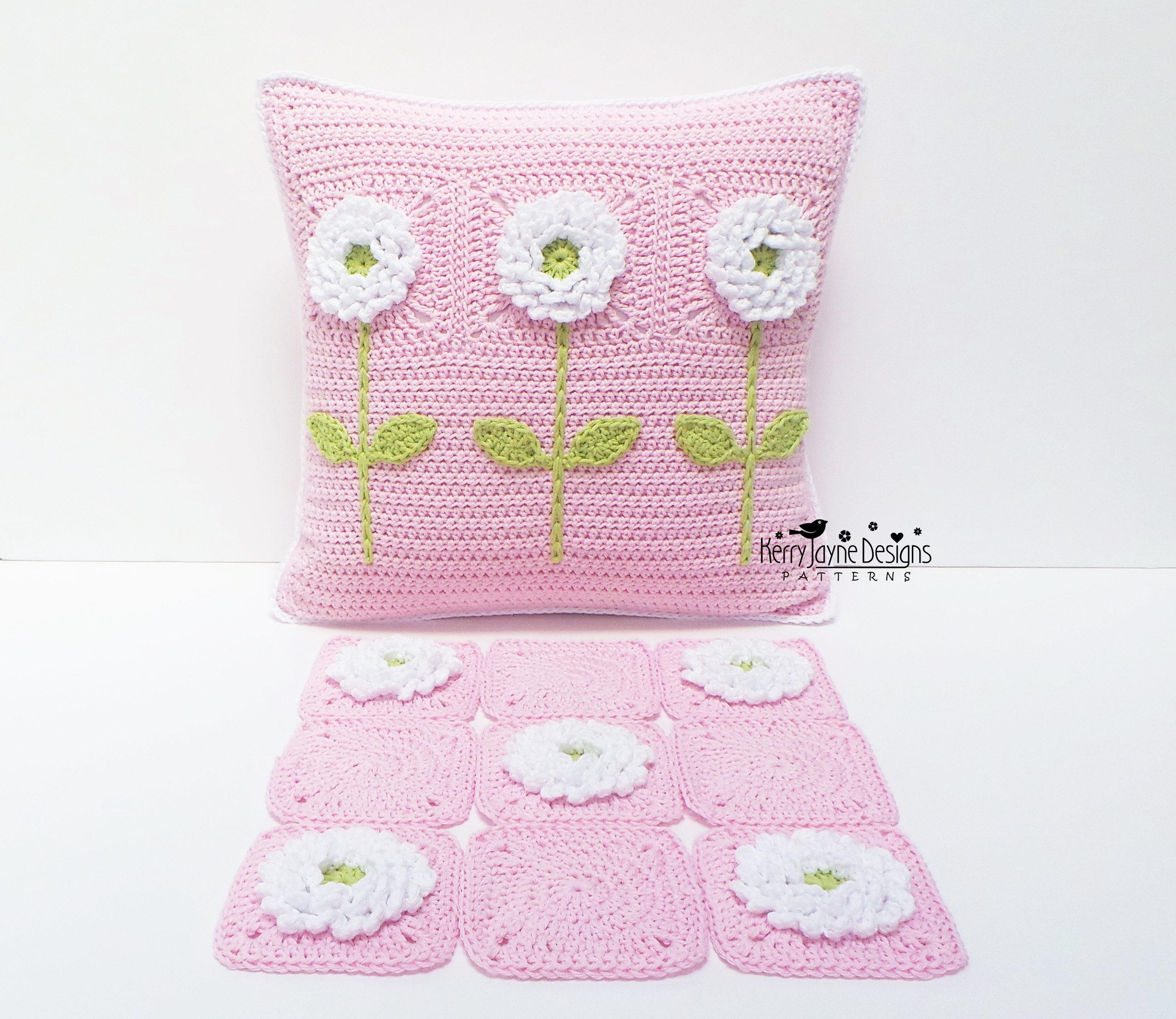 CROCHET PILLOW PATTERN Delightful Dahlias Crochet Cushion   Etsy