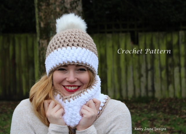 Crochet Hat And Cowl Pattern Snow Bobble Effect Crochet Etsy