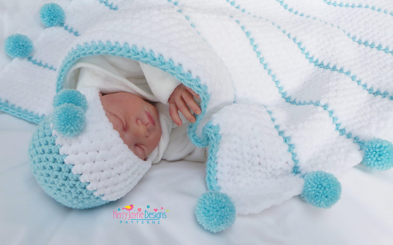 Posh Pom poms Crochet Blanket Pattern and Hat Set Baby | Etsy