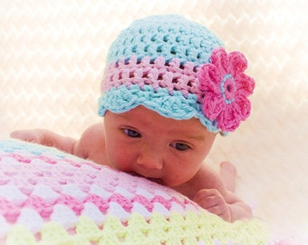 CROCHET BABY HAT Pattern - Oh so pretty - Crochet hat pattern Cotton Hat pattern Crochet pattern flower hat pattern comes in 5 sizes! Usa