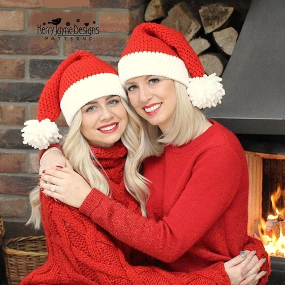 Christmas Crochet Hat Pattern Santa Kisses Hat Santa Hat Etsy