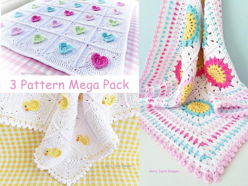 Kjd 123 Fun Crochet Patterns Crochet Blanket Patterns Little Etsy