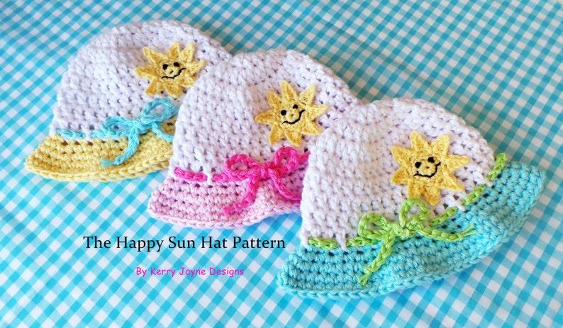 Crochet Pattern HAPPY SUN HAT Baby Summer Hat Pattern Cotton  c42f4ffc78e