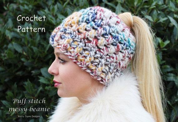 Puff Stitch Messy Bun Beanie Crochet Pattern Etsy