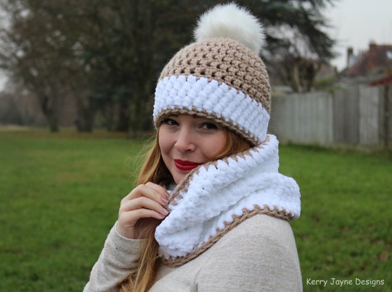 Crochet Hat And Cowl Pattern Snowy Bobbles Crochet Pattern Etsy
