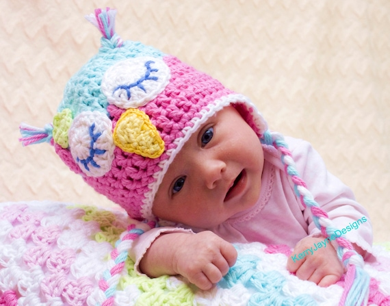 CROCHET OWL HAT Pattern By Kerry Jayne Designs Baby Owl Hat