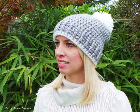 CROCHET HAT PATTERN Nordic Ribbed Hat and Crochet Scarf pattern Pom ...