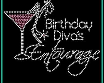 BIRTHDAY Girl or Diva Entourage Martini Rhinestone Bling Iron-on Transfer  Applique - GNO - Girls Night Out - Bling DIY 5bf76d91f443