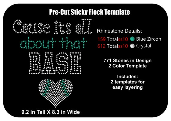 Sticky Flock Pre Cut Templates | Pre Cut Rhinestone Flock Template Baseball All About That Etsy