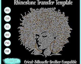 Afro Girl 3 Rhinestone Instant Download SVG, EPS Digital Transfer Template