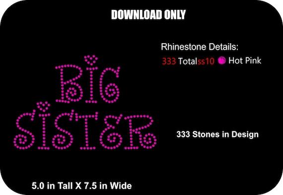 Rhinestone Transfer Template Pattern- Big Sister - DOWNLOAD Stencil ...