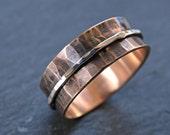 bronze spinning ring men, two tone ring bronze silver, personalized mens ring bronze silver, mens meditation ring, bronze anniversary gift