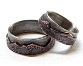 mountain wedding band set, mountain range rings, outdoor wedding rings, rustic promise ring set, unique anniversary rings custom mountain