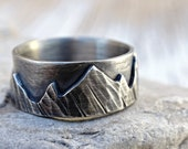 silver mountain range ring, outdoor wedding ring silver promise ring, landscape ring, silver wedding band, individual mountain ring for men