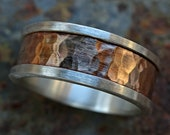 bold mens ring two tone, mens engagement ring rustic, unique wedding band bronze silver, mens wedding ring silver bronze anniversary gift
