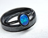 welo opal ring set black silver, opal engagement ring set, opal wedding ring set, bridal set opal ring, promise ring opal anniversary gift