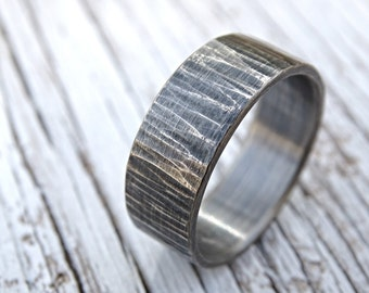 rustic mens ring, mens wedding band, rustic wedding ring, cool mens ring silver, hammered silver ring, tree bark ring driftwood mens ring