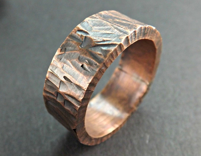 cool mens ring wide copper ring wide mens ring copper bold copper ring thick copper ring forged ring copper personalized mens ring