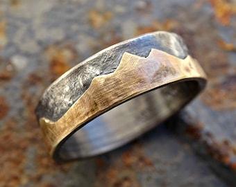 gold mountain range ring, outdoor wedding ring, Keum Boo ring gold black silver gold wedding band personalized, custom mountain ring men