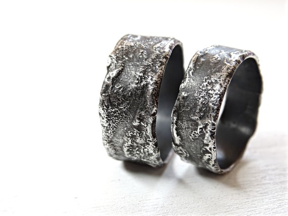 Cool Wedding Rings.Unique Wedding Rings Silver Silver Wedding Bands Rustic Richly Structured Rings Silver Commitment Rings Cool Wilderness Rings