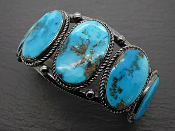 December Birthstone 11th Wedding Anniversary Hammered Sterling Silver Bracelet with Turquoise