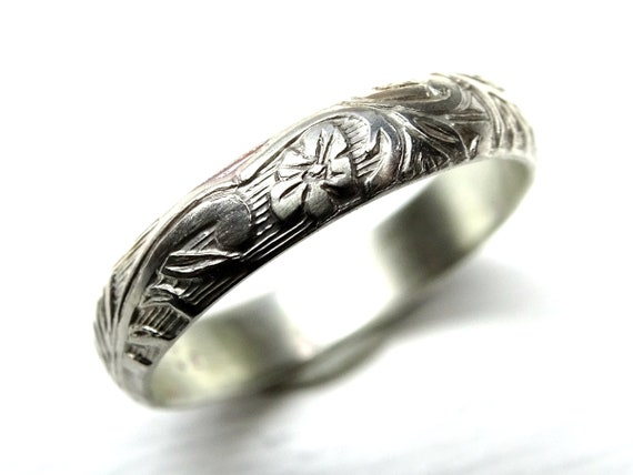 Pagan Wedding Band Women Medieval Wedding Ring Silver Flower Ring Eternity Ring Flower Promise Ring Women Leaf Ring Silver Wedding Band