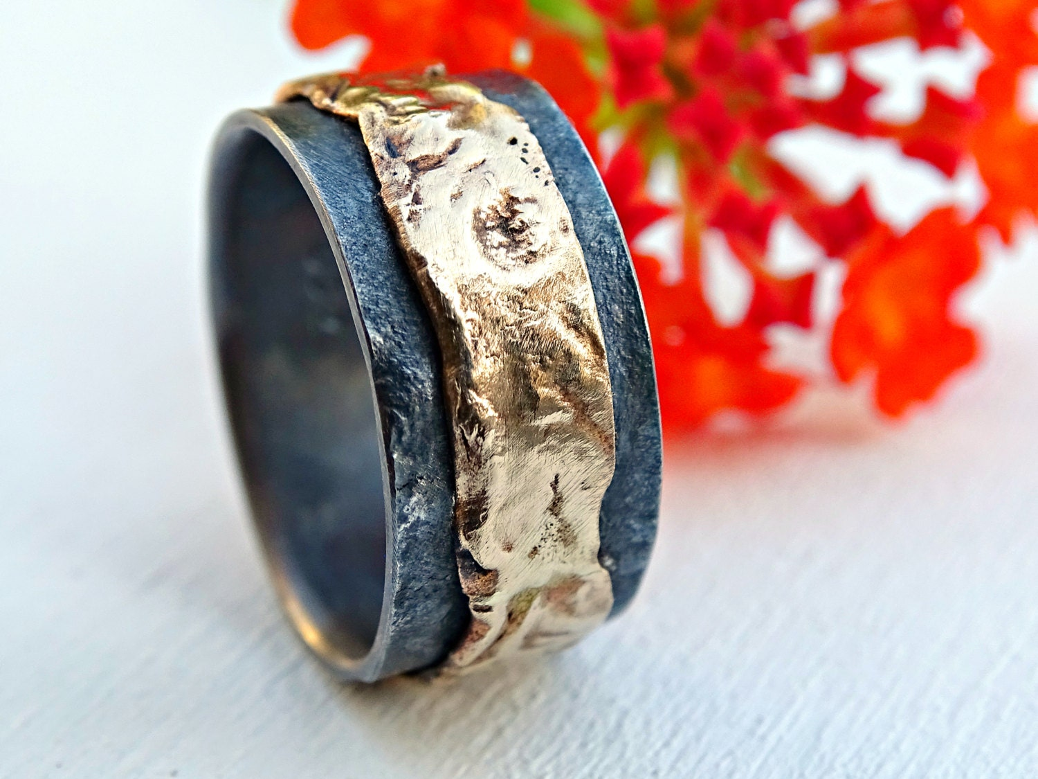 It is a graphic of unique mens wedding band gold silver, mens ring gold wedding ring black, silver gold ring molten, viking wedding band, artisan gold ring