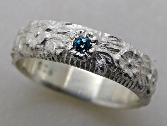 Flower Ring Silver Eternity Ring Pagan Wedding Band Women Wedding Ring Silver Gemstone Promise Ring Flower Nature Engagement Ring For Her