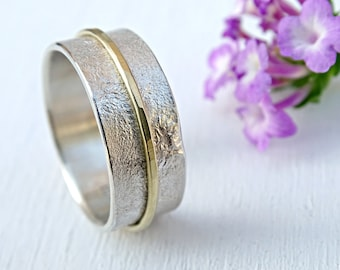 unique wedding band gold silver, silver wedding ring rustic, unique engagement ring mens, viking wedding ring men, gold wedding band