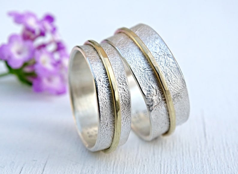 Cool Wedding Rings.Silver Gold Wedding Ring Set Unique Wedding Bands Matching Rings His And Hers Promise Ring Set Viking Wedding Rings Distressed Gold