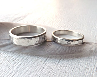 silver wedding bands unique, personalized rings silver, hammered wedding rings his and hers, matching wedding ring set, silver promise rings