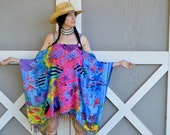 Psychedelic Vintage 90 39 s Rainbow Tropical Fish Print Vacation Sarong Short Cold Shoulder Kaftan Beach Hippie Dress with Fringe