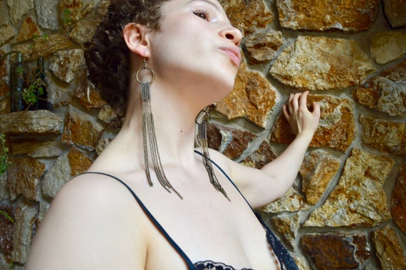 Long Brass Chain Shoulder Duster Boho Earrings - image 4