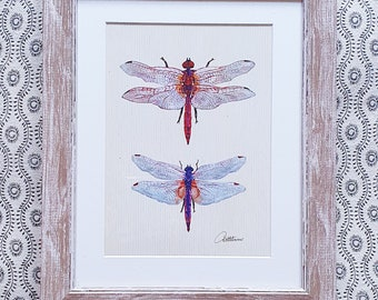Dragonfly Painting Framed Dragonflies Dragonfly Artwork Dragonfly Wallart Wildlife Home Decor Crimson Darter & Violet Dropwing Picture Gift