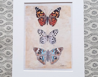 Butterfly Wallart Butterfly Decor Butterfly Painting Butterflies To Frame Butterfly Original Butterfly Gift Painted Lady, Nymph and Buckeye