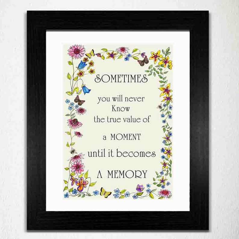 Butterfly Quote Print Sentimental Print Memories Print Off image 0