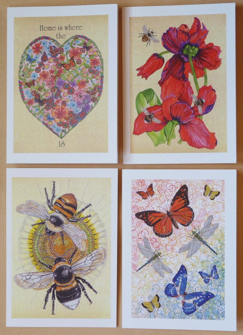 Butterfly Cards Dragonfly Cards Bee CardsFrameable cardsBees image 0