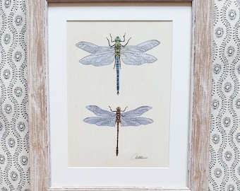 Dragonfly Wallart Dragonfly Painting Wildlife Home Decor Framed Dragonflies Dragonfly Artwork Dragonfly Art Print Insect Art Picture Gift