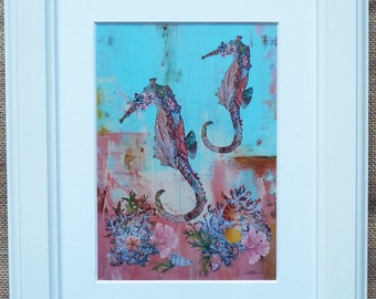 Seahorse Painting Seahorse Print Framed Seahorse Picture - Framed nautical scene print 'Under A Tropical Sea' -cream architrave wooden frame
