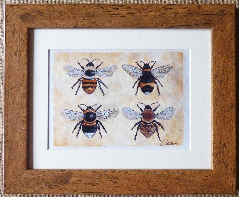 Biene Bild Bumble Bee Bee Gemälde gerahmt Bumble Bee Bild   Etsy