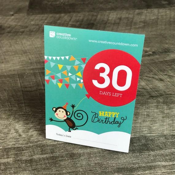 30 Dagen Aftellen Naar Verjaardag Monkey Etsy