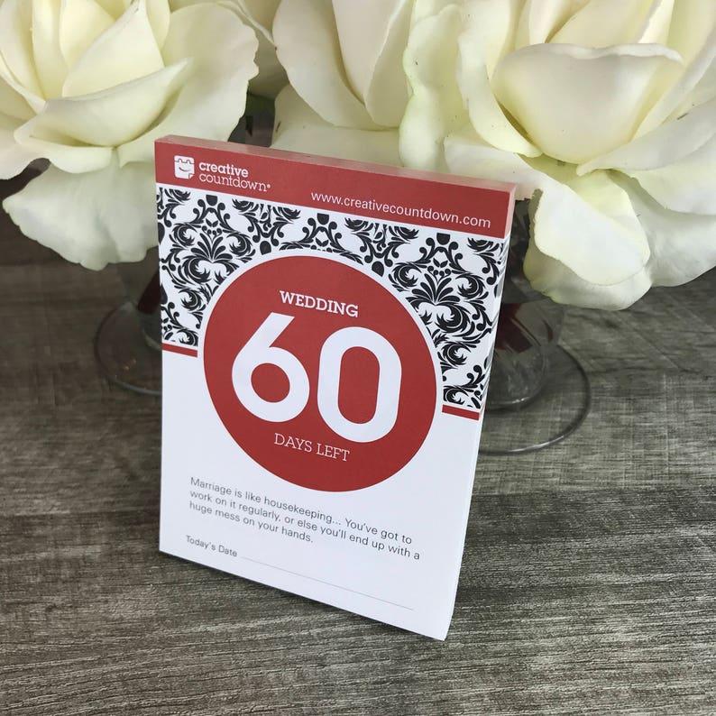 Calendario Countdown.Countdown To Wedding 60 Day Tear Off Countdown Calendar In Red Makes A Unique Wedding Shower Gift