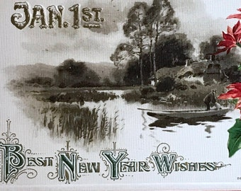 Antique 1900s New Years Postcard, Peaceful Lake with Cottage. Green and Red Poinsettias, Embossed, Divided Back Postcard