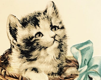 Antique Animals Postcard, Cute Kitten In Basket Eith Blue Bow, Vintage Post Card Collectible
