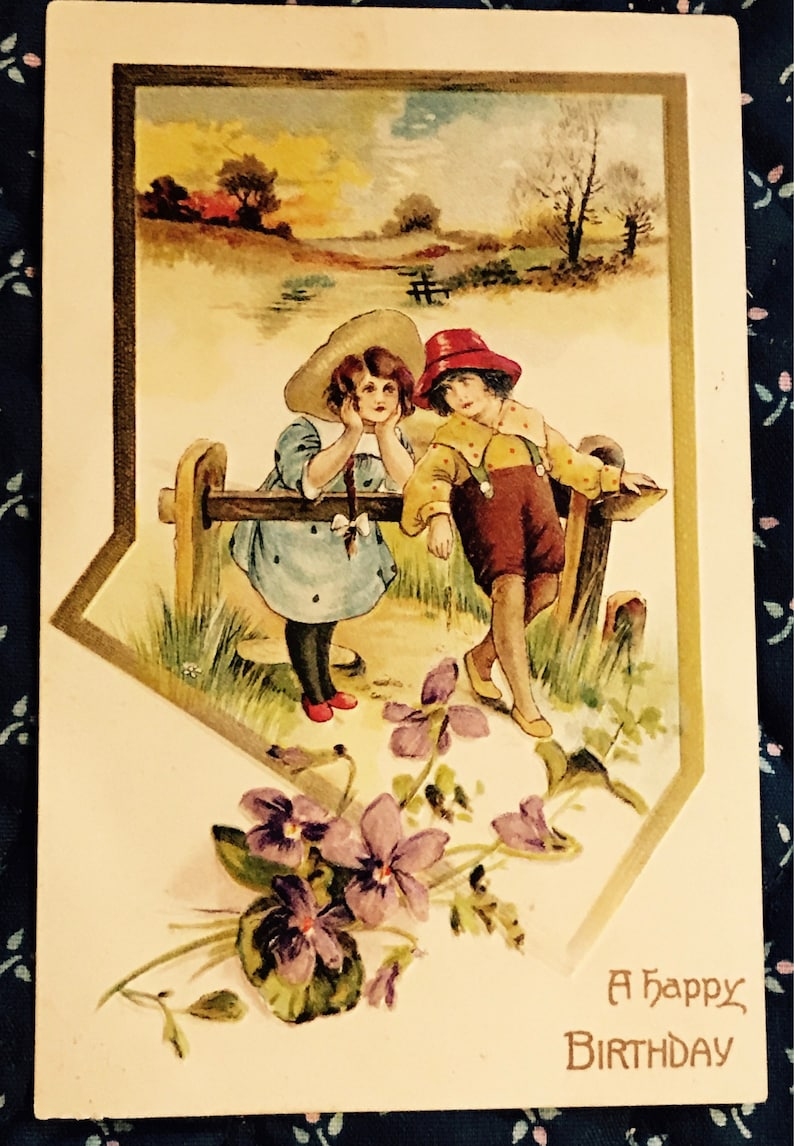 Antique 1900s Birthday Postcard, Little Boy And Girl Resting From Their  Walk In The Country, A Happy Birthday, Vintage Post Card Collectible