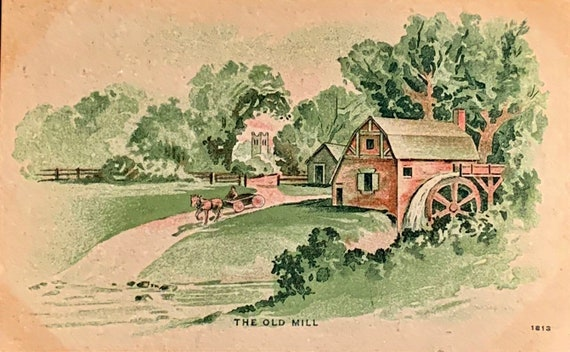 Antique Fine Arts Postcard, Fine Art Painting, The Old Mill, Unsigned Artist
