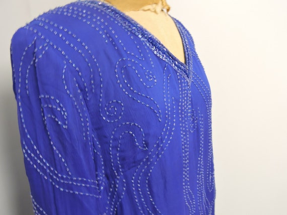 Jewel Queen Royal Blue Beaded Dress - image 2