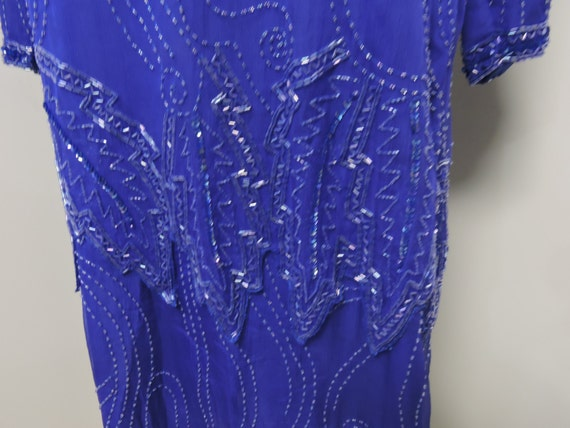 Jewel Queen Royal Blue Beaded Dress - image 3