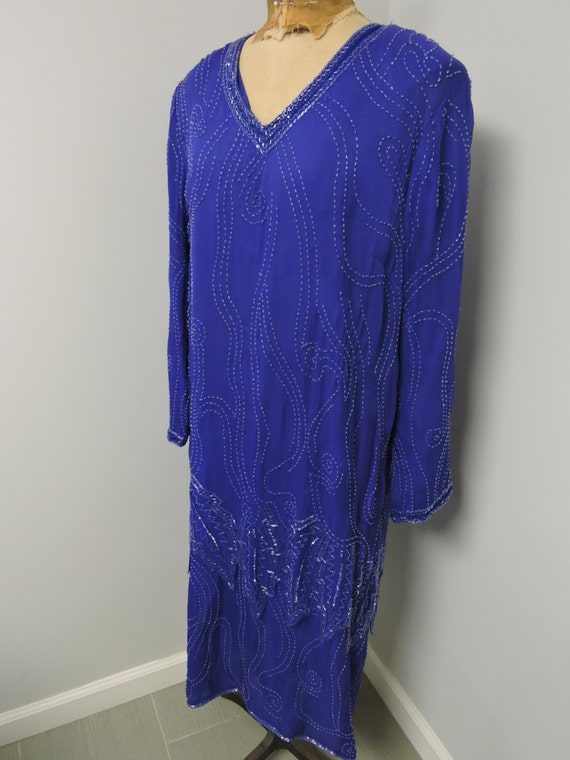 Jewel Queen Royal Blue Beaded Dress - image 1