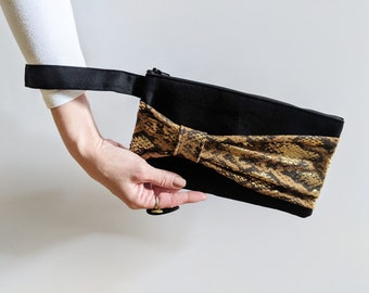 Unique Gifts for Women, Ready to Ship Gifts Under 30, Birthday Gifts for Friends, Stocking Stuffers for Her, Snakeskin Bow Clutch